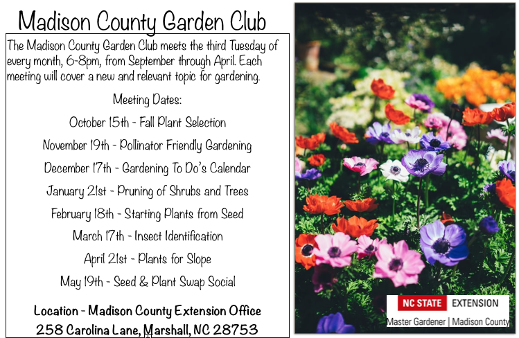 Madison County Garden Club meeting dates