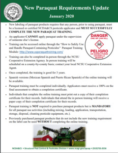Cover photo for New Paraquat Requirements Update