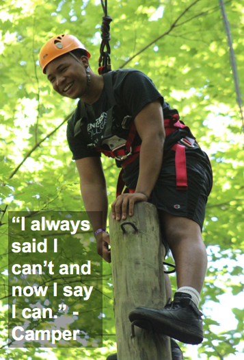 """Camper on high ropes course: """"I always said I can't and now I say I can."""""""