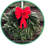 Traditional wreath with red bow