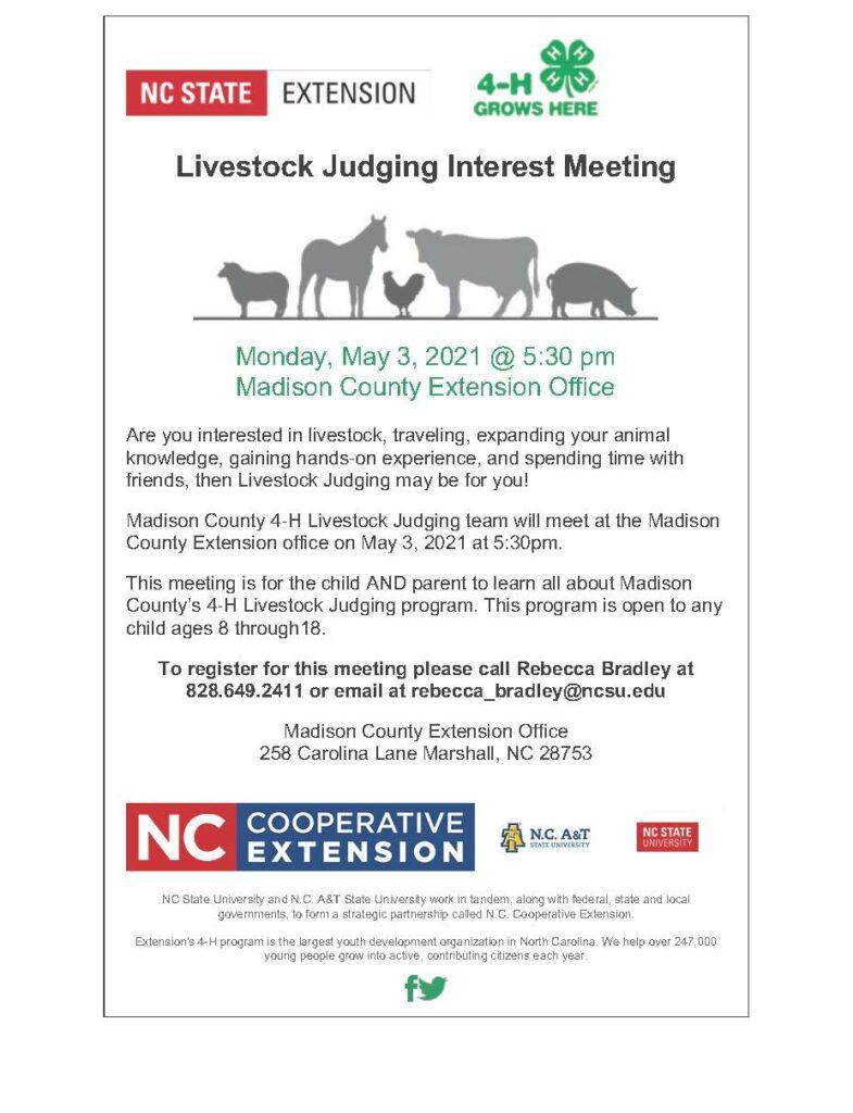 Livestock Judging Interest Meeting flyer image